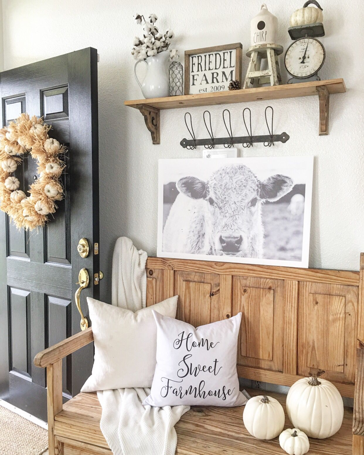 Shiloh the cow Entryway Farmhouse decor living room