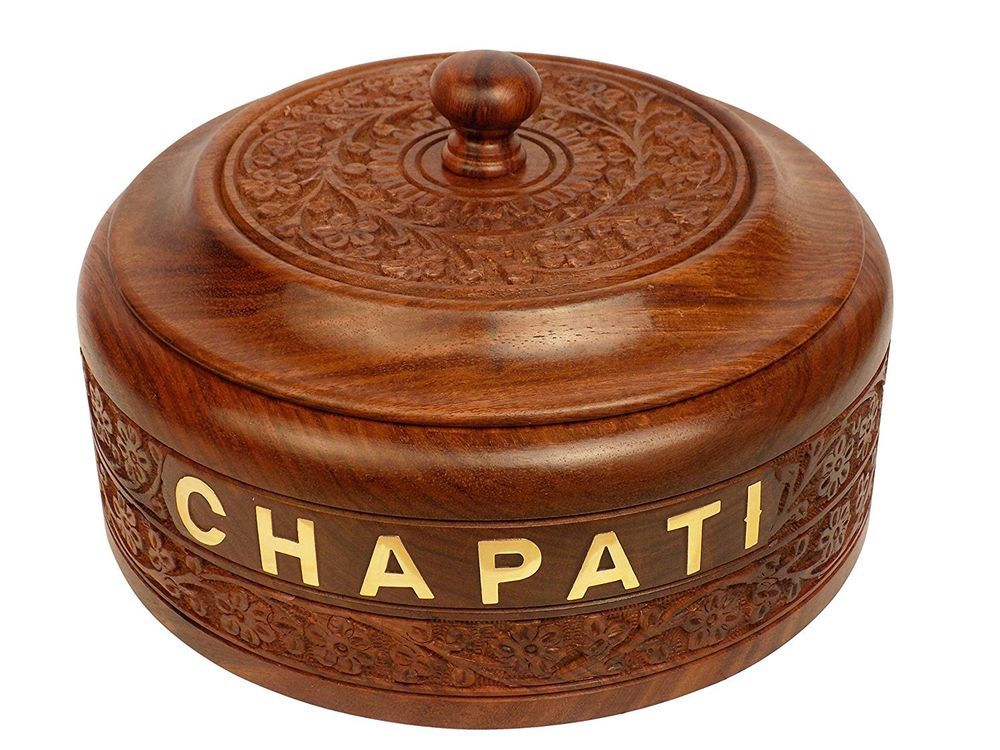 Year Sale 7.5 Inch Big SizeCraftsman Handcrafted Wooden Chapati Box with Steel #Craftsman
