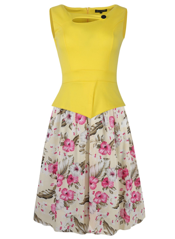 Women Sleeveless Chiffon Summer Floral Patchwork Fake Two