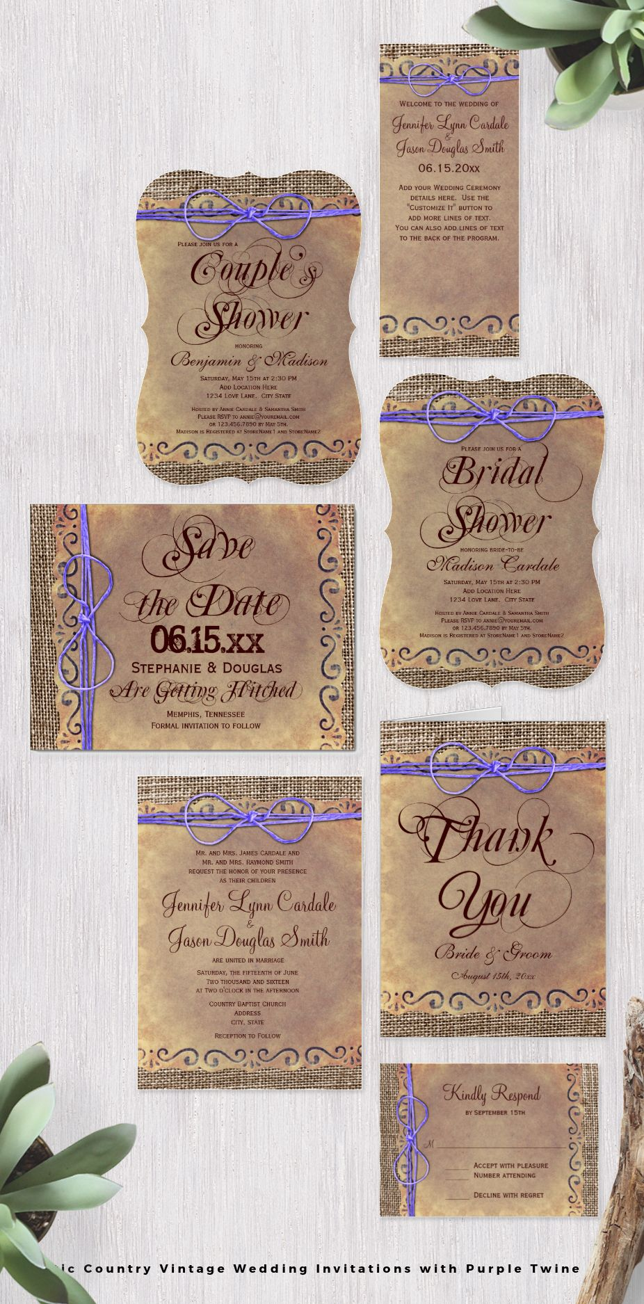 Rustic Country Wedding Invitation Set With Vintage Paper Design