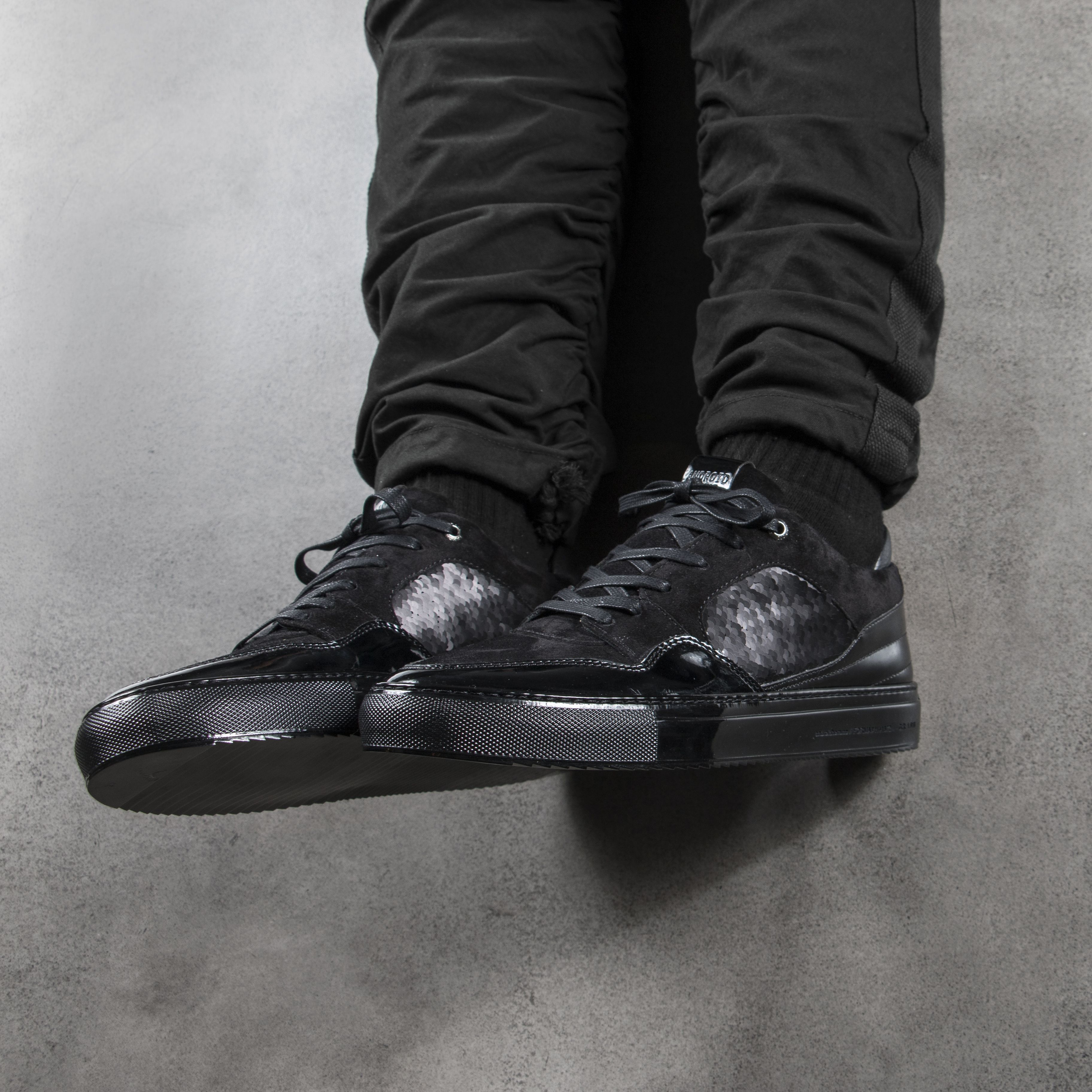 Android Homme Black Propulsion Mid Sequin Trainers Free Collect In Store Available 295 00 Save 20 Vat For Non Eu C All Black Sneakers Footwear Designer Shoes