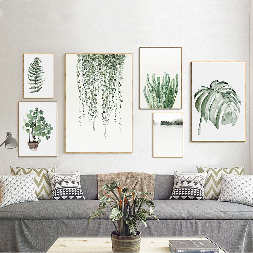 Living Room Art: Details About Tropical Plants Leaves Canvas Vintage Poster