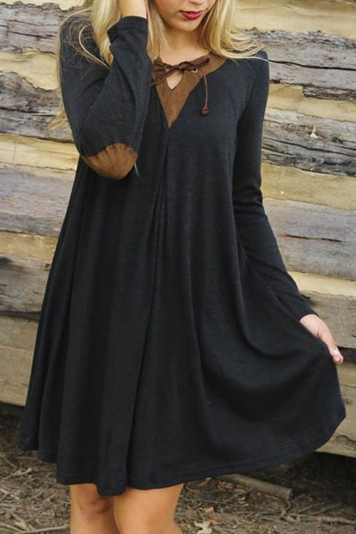 Long Sleeve Elbow Patchwork Flare Dress