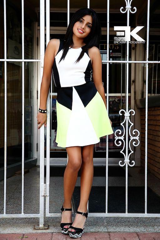 Samantha in Green/White Dress.