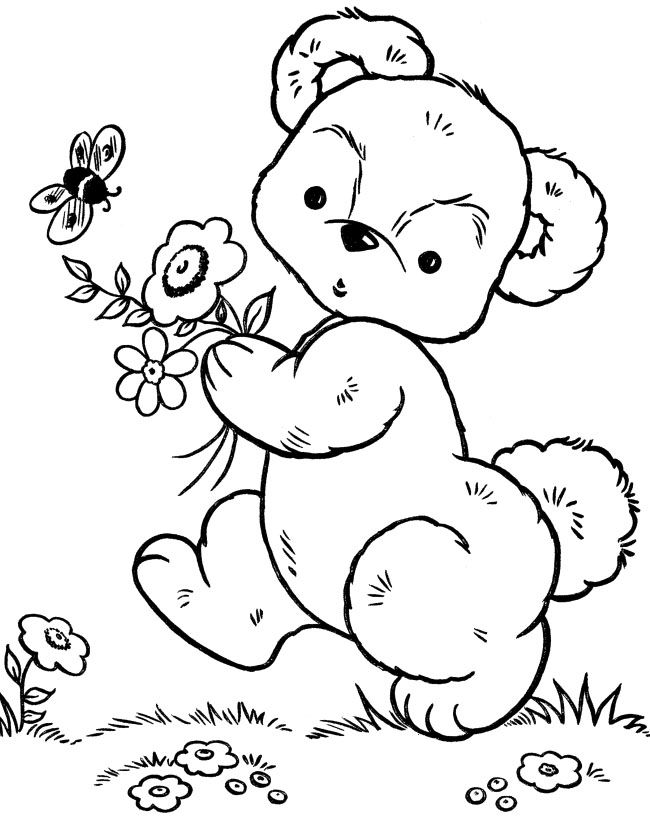 Little Bear Walking On Garden Coloring Pages Teddy Bear Coloring