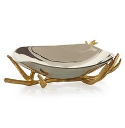 Gold Decorative Bowl Theron Hollywood Regency Gold Branches Silver Decorative Bowl