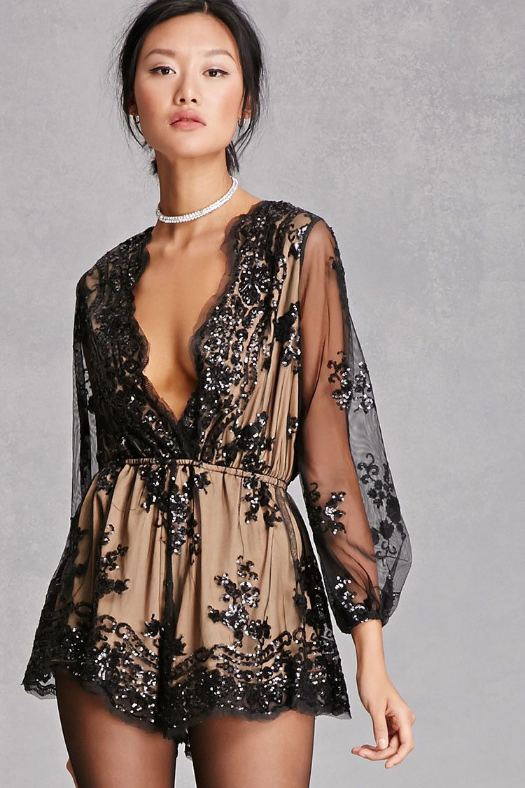 29c4cbd73d7e A sheer mesh knit romper with a nude lining by Reverse™ featuring a sequin  design