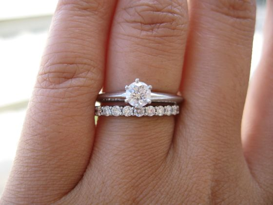 round brilliant solitaire tiffany setting engagement ring with shared setting wedding band - Engagement Rings With Wedding Band