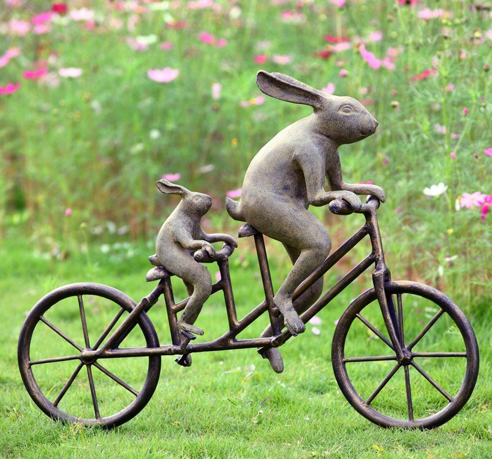 Rabbit Tandem Bicycle Bunnies Garden Sculpture Metal Bunny Outdoor ...