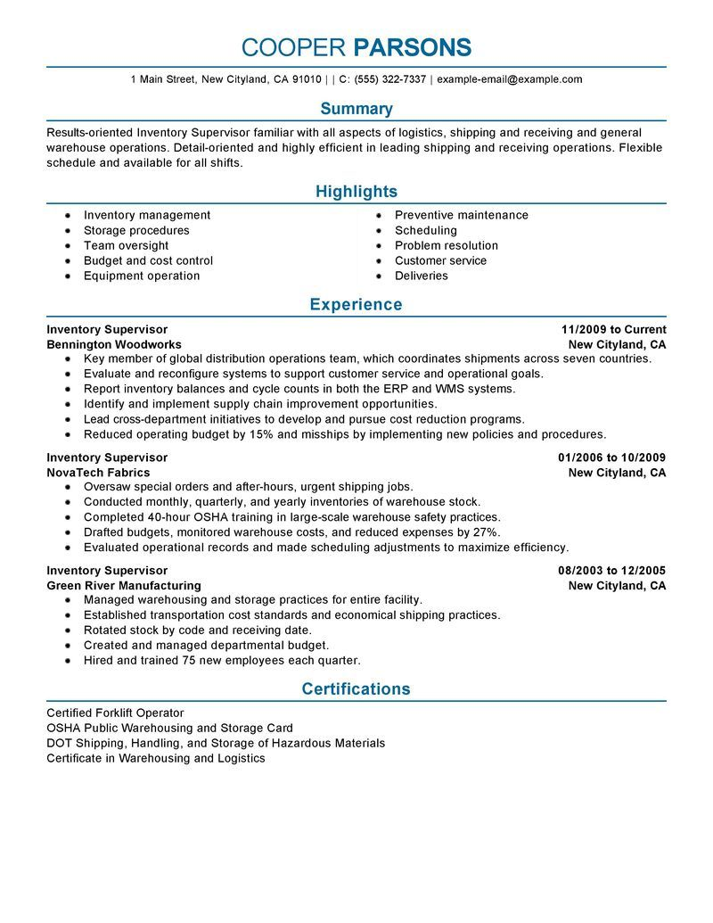 Inventory Management Resume 11 Production Supervisor Resume Sample  Riez Sample Resumes