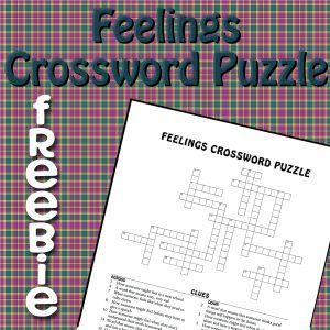 Feelings Crossword Puzzle Social Skills Activities School