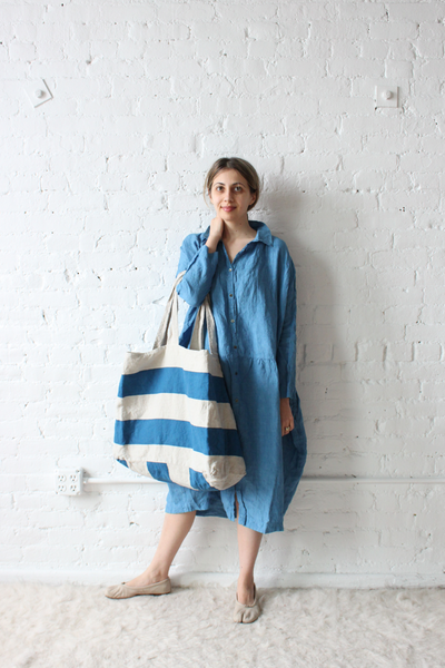 f8409ed080 Ichi Antiquites Gather Linen Dress Blue