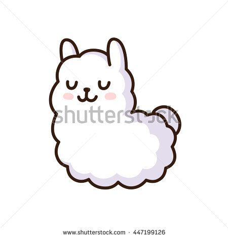 Cute Cartoon Llama Vector Illustration Adorable White Alpaca