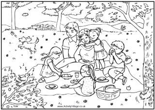 Family picnic coloring page family eating a picnic in the woods