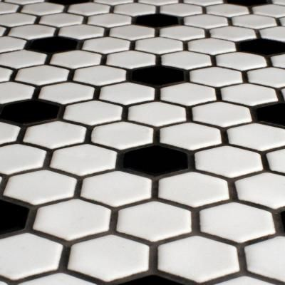 Elegant Merola Tile Metro Hex Glossy White with Black Dot 10 1 4 in Amazing - Latest black mosaic tile