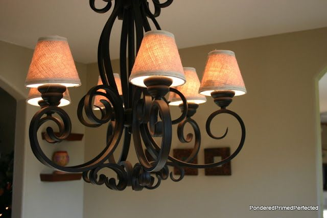Diy Burlap Chandelier Shades Tutorial In 2020 Chandelier Shades