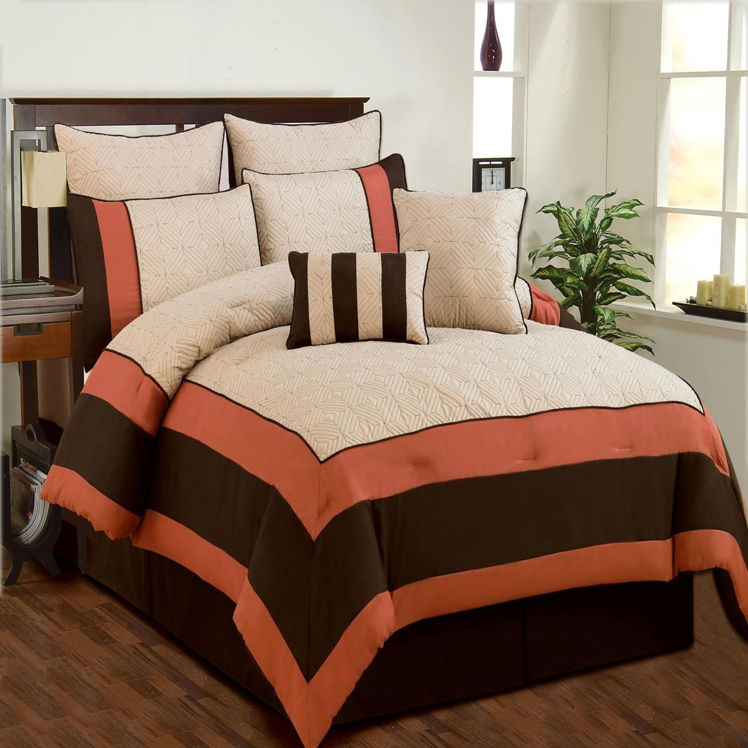 Coral And Brown Bedroom Aspen Beige Brown Coral Quilted