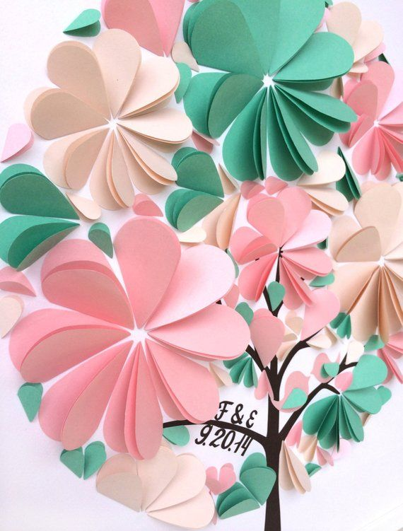 Mint and Pink Guest Book - 3d heart guestbook - Wedding Guest Book