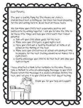 Letter To Parents Before Testing Testing Motivation Letter To