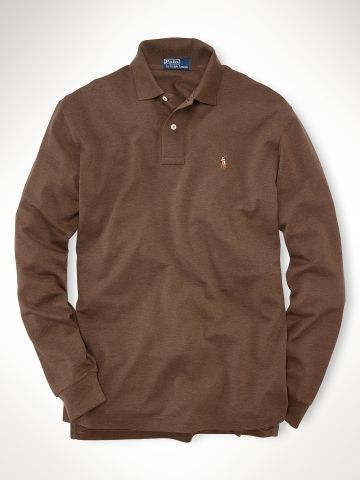 Ralph Lauren MenS Mesh Polo Long Sleeved Pima Cedar Heather