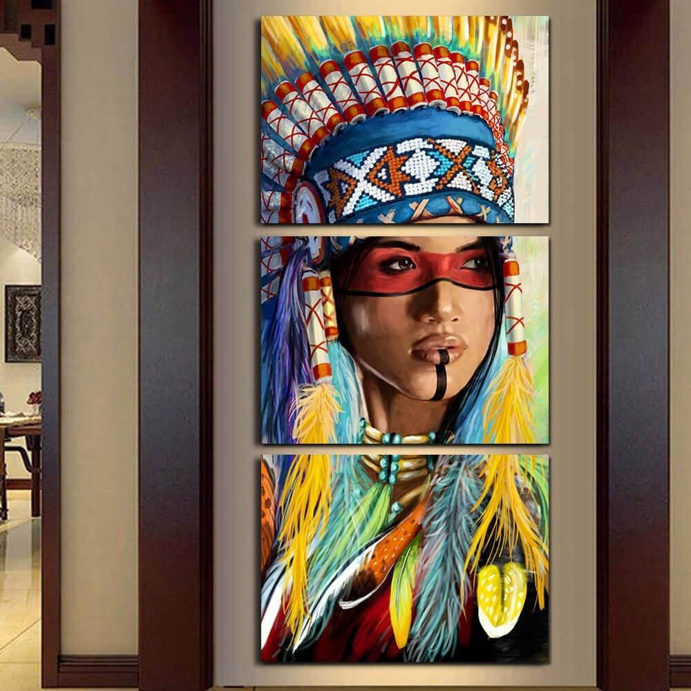 Native american feathered canvas modern home wall decor canvas