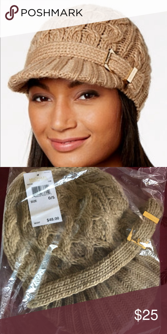 acd018306e Michael Kors Cable Knit Hat Camel knit hat with gold buckle hardware Michael  Kors Accessories Hats