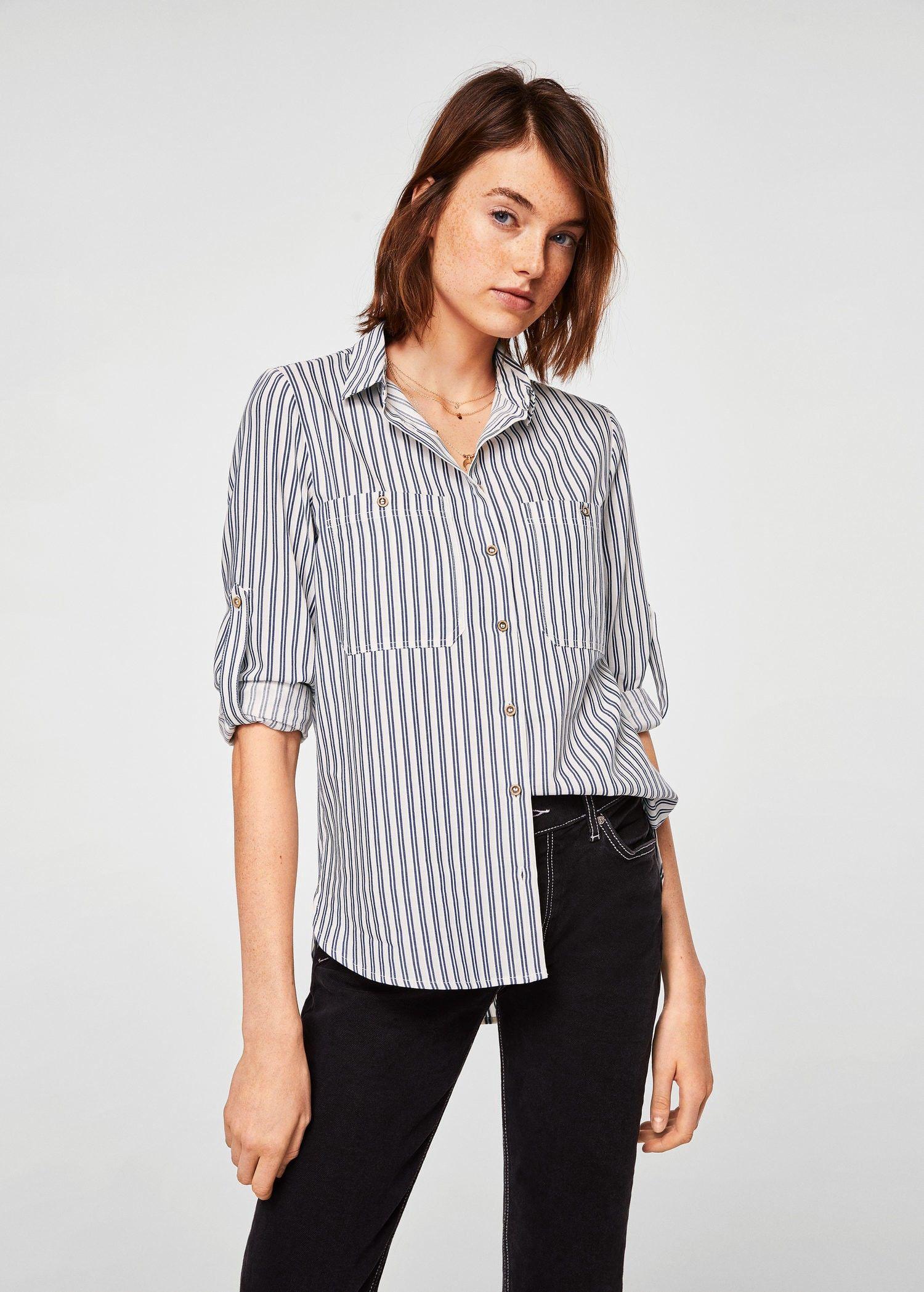 b6bdc45f8854bd Chest-pocket cotton shirt by Mango