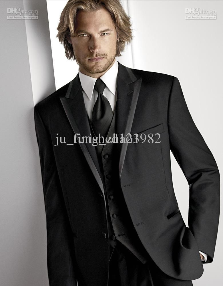 Black Groom Tuxedos 2013 New Men\'s Suits Groomsman Formal Bridegroom ...