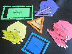 Teaching shapes using popsicle sticks.....number represent the number of each shape's sides (ie: square has 4 sides)