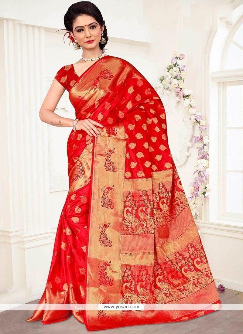 Floral Weaving Work Red Designer Traditional Saree Model: YOSAR12015