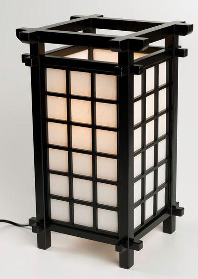 Japanische Lampe Ido Schwarz Holz Mit Japanpapier Tischlampe Tischleuchte Ebay Japanische Lampen Lampe Japanische Mobel