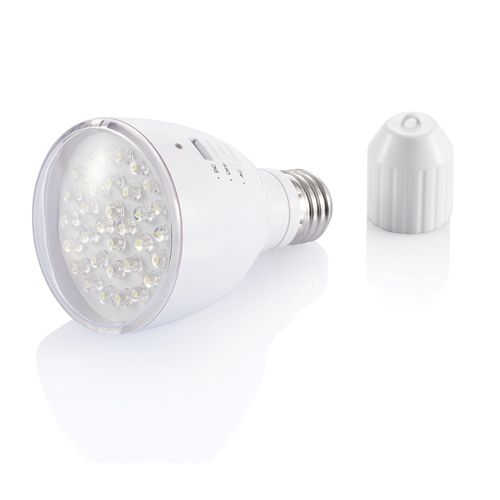 XD Eco Light bulb 220V and LED torch. PC light bulb which can be used and charged on 220V and used as LED torch with 32 white LED's and 3 switches: ACOFF-DC. Input voltage: 85-265V on 50 / 60HZ and charging time 3-5 hours.