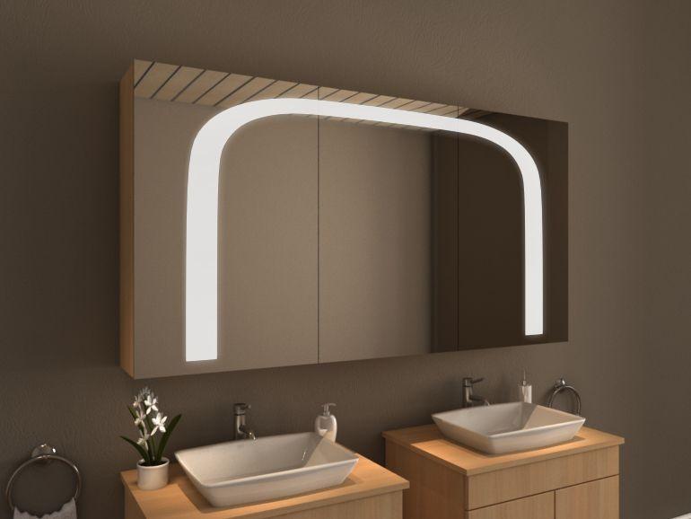 Ungewohnlicher Design Spiegelschrank Furs Bad Mit Bogenformiger Beleuchtung Boston Von Spiegel21 Spiegelschranke Furs Bad Spiegelschrank Badspiegelschrank