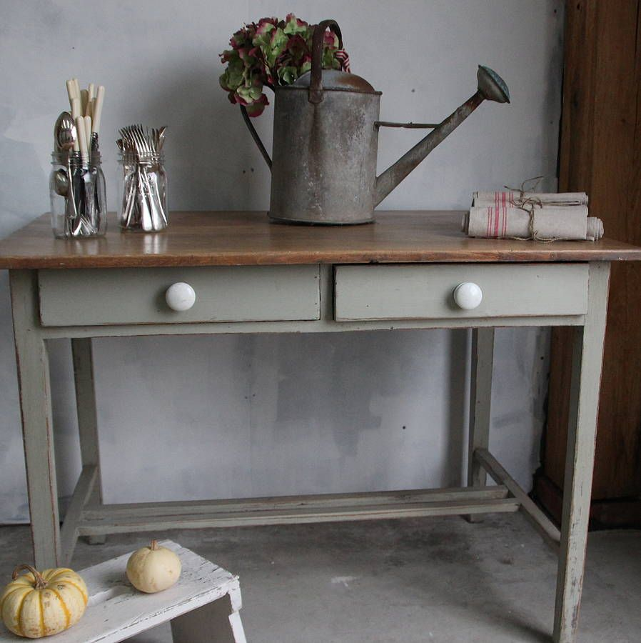 A French Gray Painted Kitchen Table By Ruby And Betty's