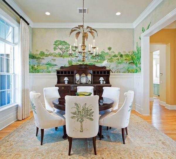 Wohnideen Grün Esszimmer Wandgestaltung Palmen