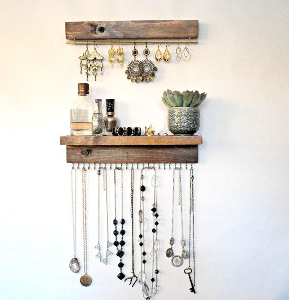Jewelry Organizer With Shelf Earring Display and Necklace Hooks