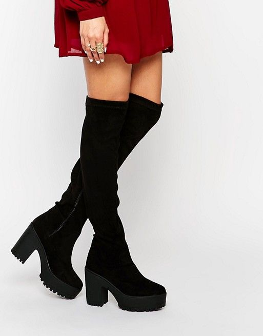 24429a7cb6c Shop Truffle Collection Nora Platform Over The Knee Boots at ASOS.