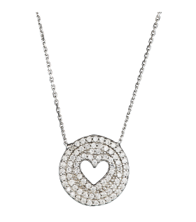 Silver Heart Round Pendant Diamond Diamond Necklace Silver