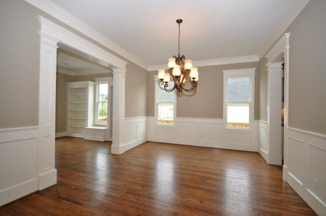 Room ideas   Love love love this Wainscoting and Moldings in white with  wood floors  Perfect for my. Love love love this Wainscoting and Moldings in white with wood