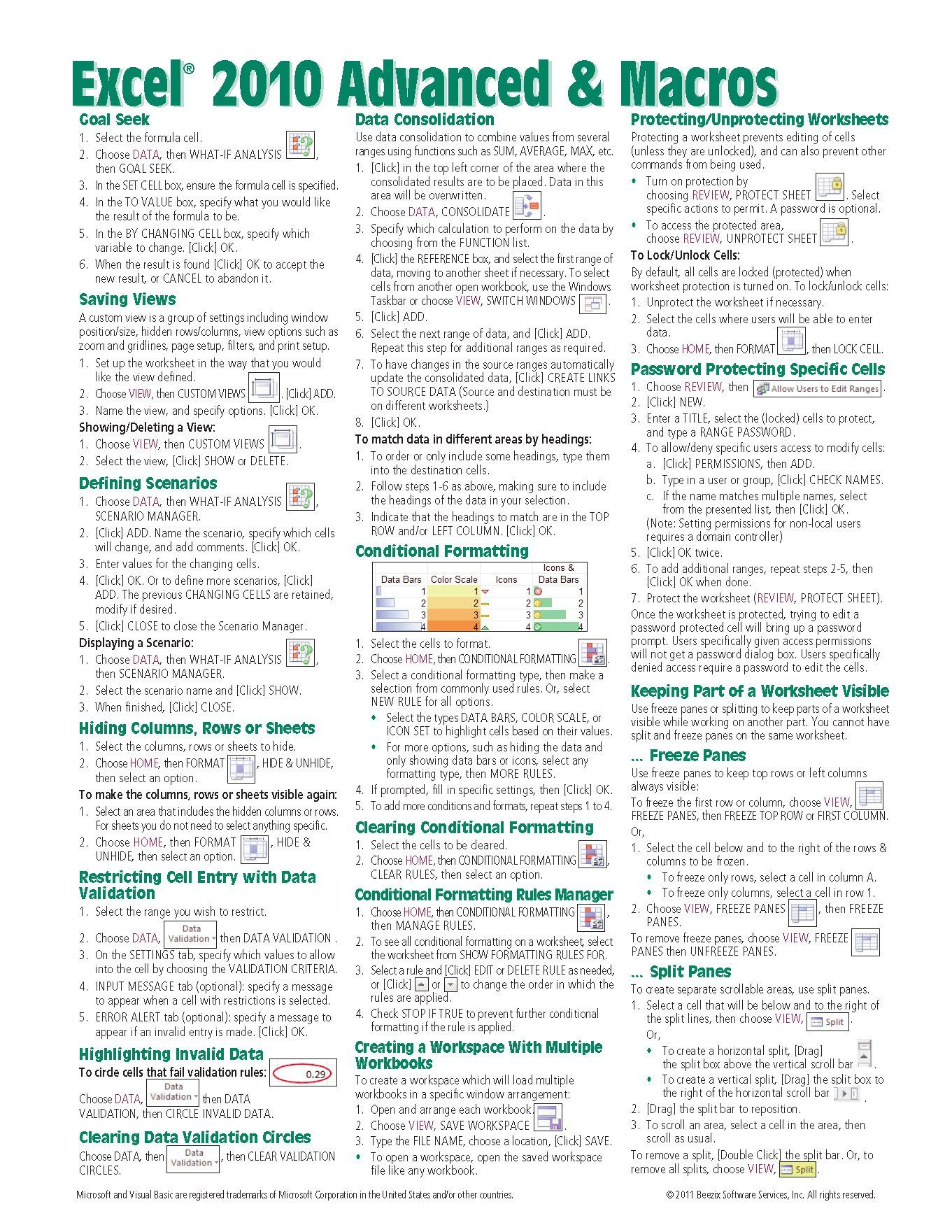 Microsoft Excel Advanced Amp Macros Quick Reference