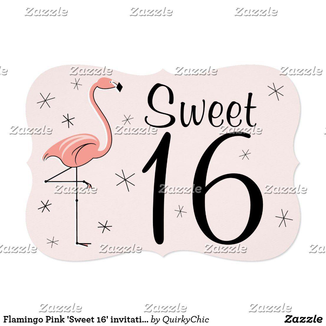 Flamingo Pink 'Sweet 16' invitation bracket