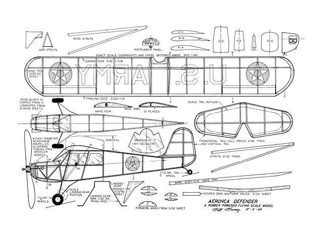 Aeronca Defender Plan Thumbnail Balsa Wood Model Airplane Plans