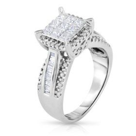 0 95 Ct T W Diamond Engagement Ring In 14k White Gold I I1 Sam S Club Diamond Engagement White Gold Diamonds Engagement Rings