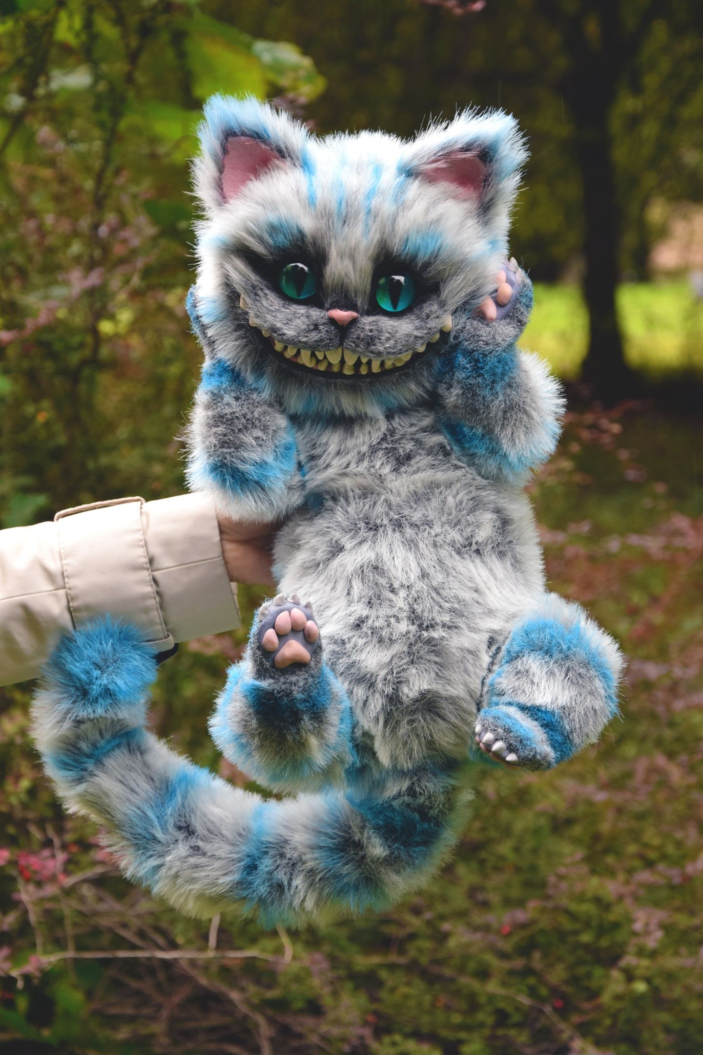 Cheshire Cat, Whimsical Animals & Fantasy creatures from faux fur and polymer clay, Mystical Posable Animals toys for collectibles and decor
