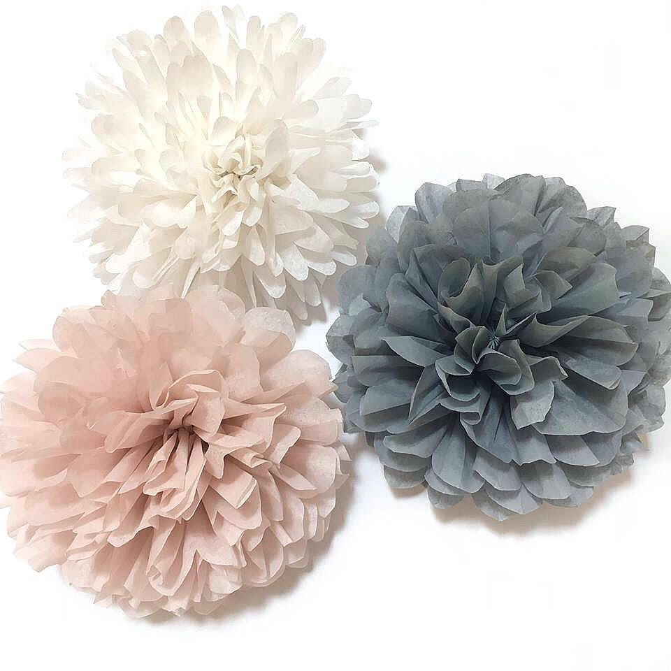 Large Tissue Paper Flowers Dusty Pink Baby Shower Decoration