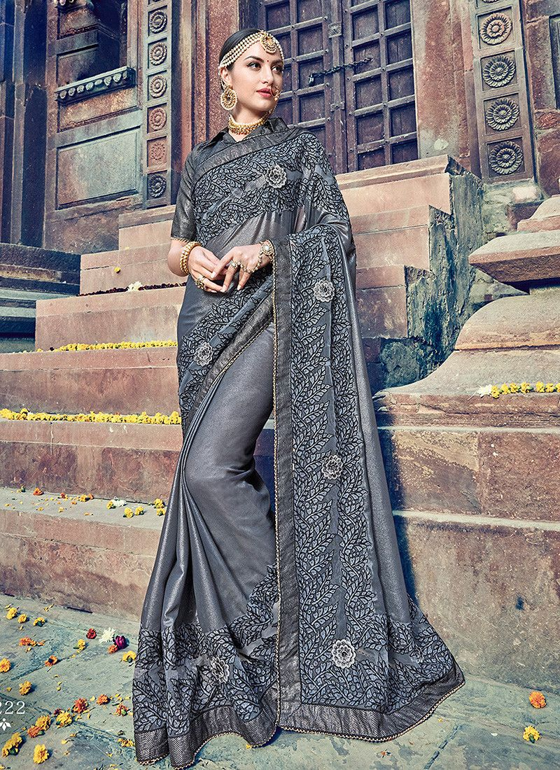 3a8c5cb552a252 Grey colour designer heavy party wear fancy fabric saree with Banglori Silk  designer blouse at joshindia