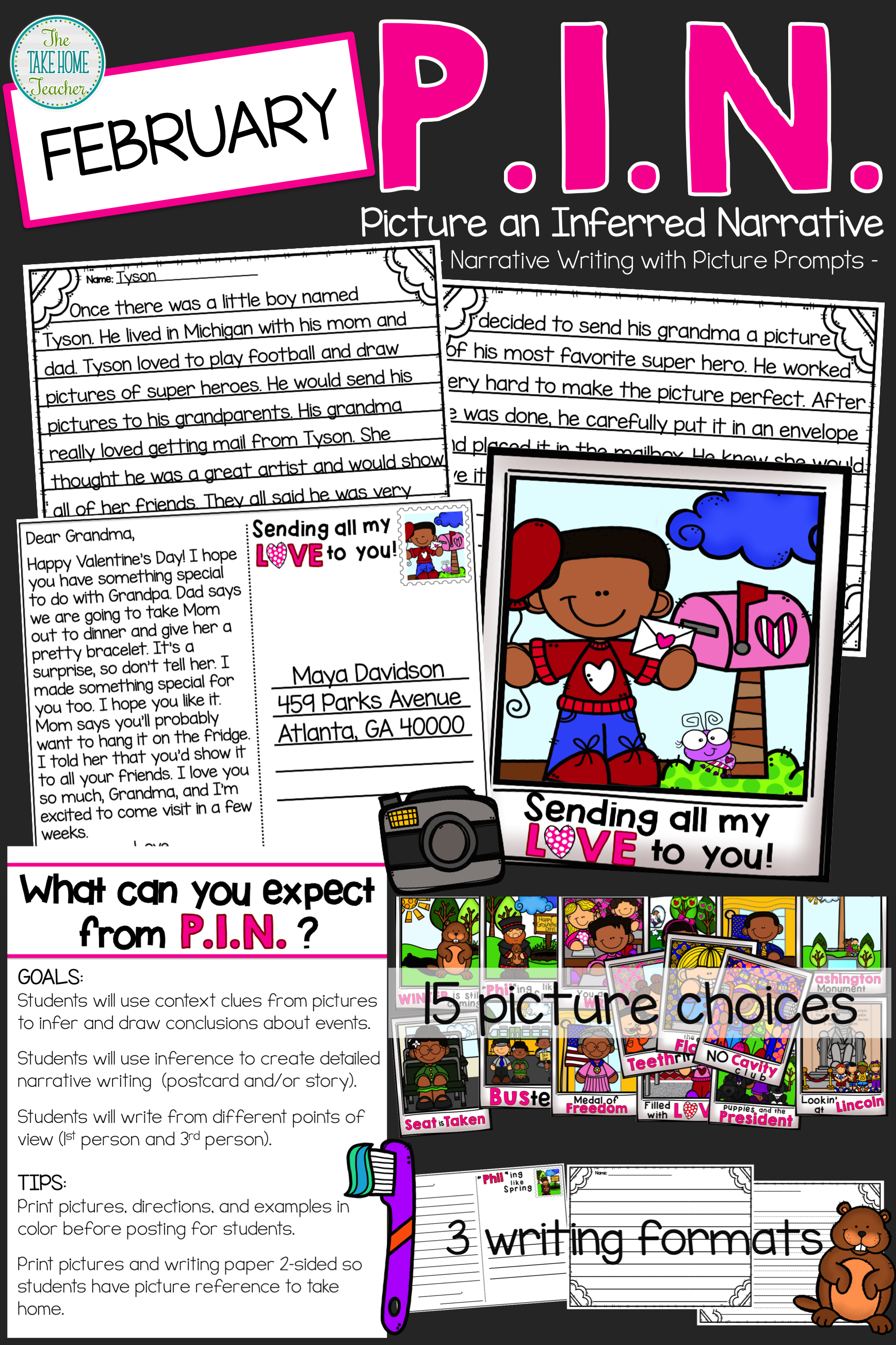 P I N February Narrative Writing With Picture Prompts