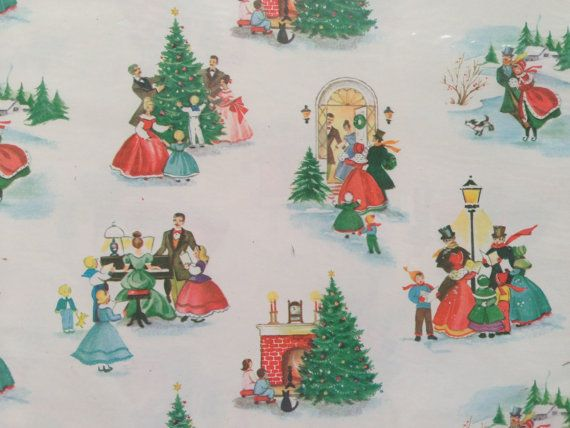 Vintage Christmas Gift Wrapping Paper Old By Thegooseandthehound