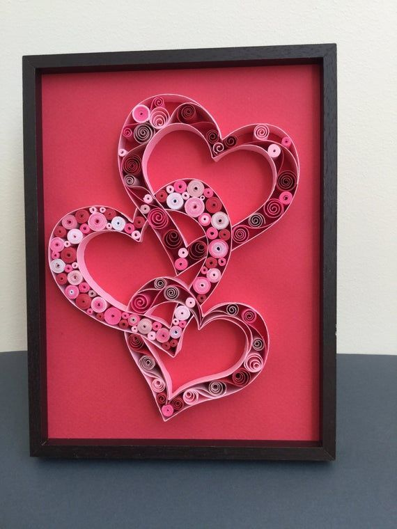 Items similar to Quilled paper art: 3CUORE- quilling-handmade picture-hanging wall quilled art- San Valentine gift on Etsy