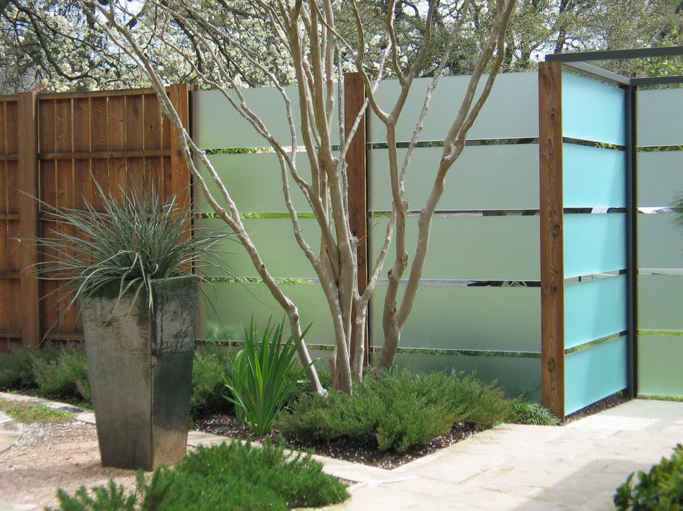 horizontal fence panels Landscape Contemporary with container ...